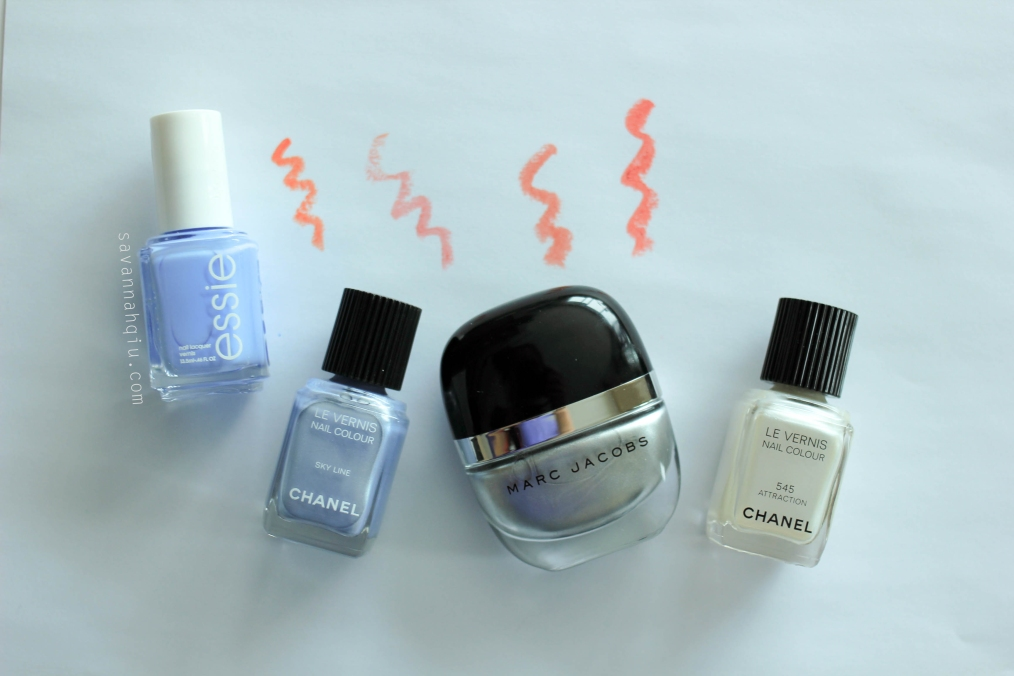 Essie Nail Lacquer in bikini so teeny; Chanel Le Vernis Nail Colour in Sky Line; Marc Jacobs Enamored Nail Colour in Stone Jungle; Chanel Le Vernis Nail Colour in Attraction.